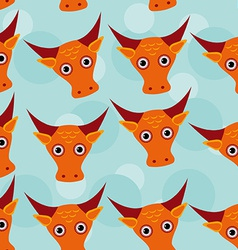 Bull Seamless pattern with funny cute animal face vector image vector image