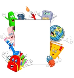 Cartoon little kid with collection stationery wavi vector