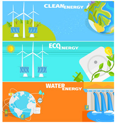 clean eco water and wind energy set vector image vector image