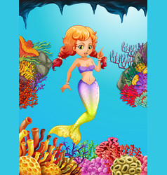 cute mermaid swimming under the ocean vector image