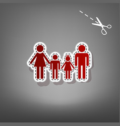 Family sign red icon with for applique vector