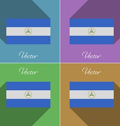 Flags Nicaragua Set of colors flat design and long vector image vector image