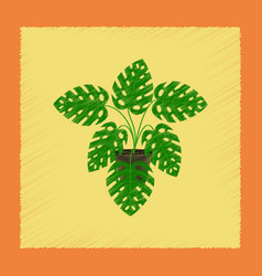 Flat shading style plant monstera vector