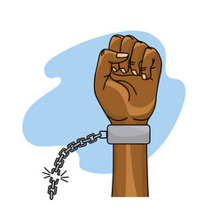 Hands fist up with chain to celebrate special day vector