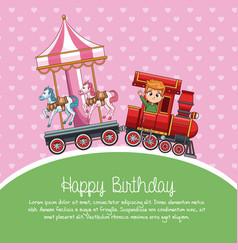 Happy birthday train cartoon vector