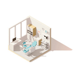 isometric low poly dental office vector image vector image