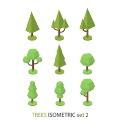 Isometric tree set 2 vector image vector image