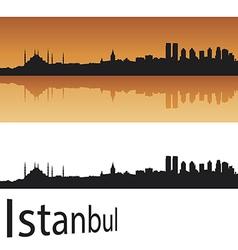 Istanbul skyline in orange background vector image
