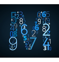 Letter m font from numbers vector