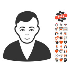 man icon with lovely bonus vector image vector image