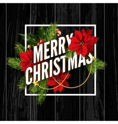 Merry christmas greeting card on black wooden vector