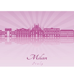 Milan skyline in purple radiant orchid vector