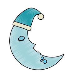 moon with sleeping cap kawaii character vector image