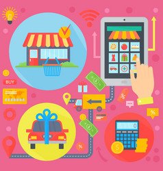 Online shopping mobile marketing and digital vector