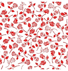 Seamless blooming roses and buds pattern vector image