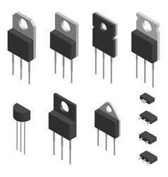 Set of different transistors in 3d vector