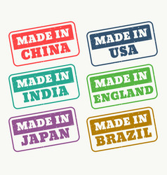 set of rubber stamps for made in china usa india vector image vector image