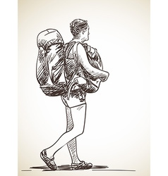 Sketch of a backpacker vector image vector image