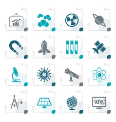 stylized science research and education icons vector image vector image