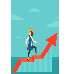 Woman standing on uprising chart vector