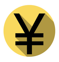 yen sign flat black icon with flat shadow vector image
