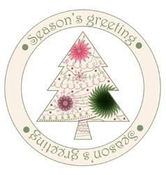 Seasons greeting sticker with christmas tree vector image
