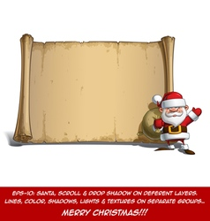 Happy santa scroll sack of gifts vector