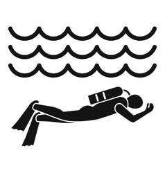 Scuba diver man in diving suit icon simple style vector
