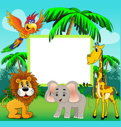background with giraffe elephant lion and parrot vector image