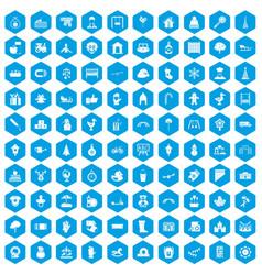 100 kindergarten icons set blue vector