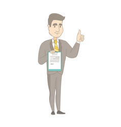 young businessman showing clipboard and thumb up vector image