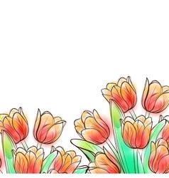 Watercolor tulips vector