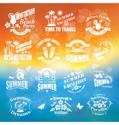 Set of summer design elements and frames vector