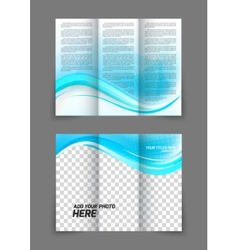 Blue wave brochure vector