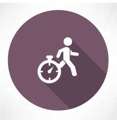 Man running out of time icon vector
