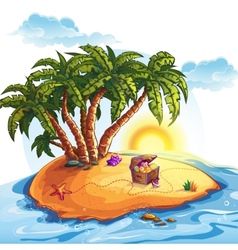 Treasure Island with a trunk vector image