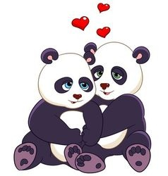 Love cartoon pandas vector