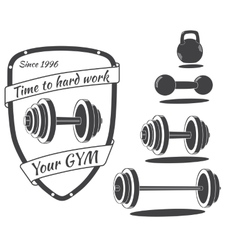 Set of monochrome gym equipment vector