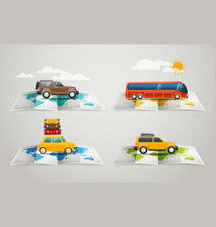 World map with different vehicle infographic vector