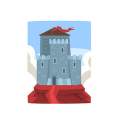 Big medieval castle on top of mountain on blue sky vector