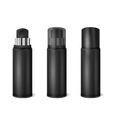 black spray cans realistic set vector image