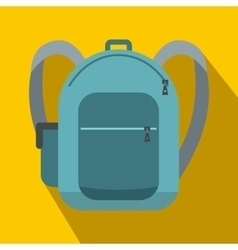 Blue school bag icon flat style vector image