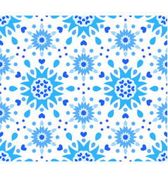 Blue white flower and hearts pattern vector