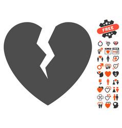 Broken heart icon with dating bonus vector