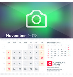 calendar for november 2018 week starts on sunday vector image vector image