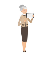 Caucasian business woman holding tablet computer vector