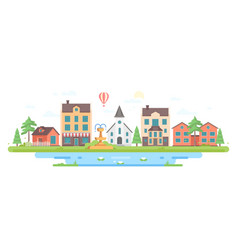 Cityscape with a fountain - modern flat design vector