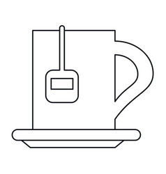 Cup tea hot break office work outline vector