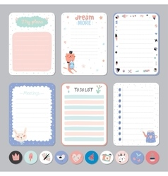 Cute Calendar Daily and Weekly Planner vector image vector image