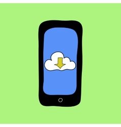 Doodle style phone with cloud downloading vector